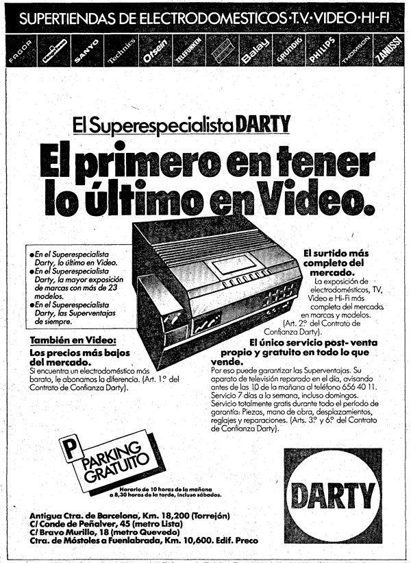 Último anuncio de Darty, diciembre de 1982