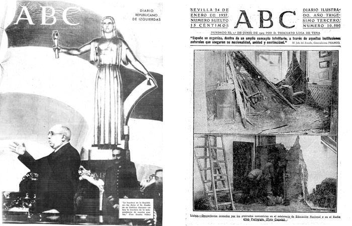 Portadas de ABC Madrid y ABC Sevilla el 24 de enero de 1937