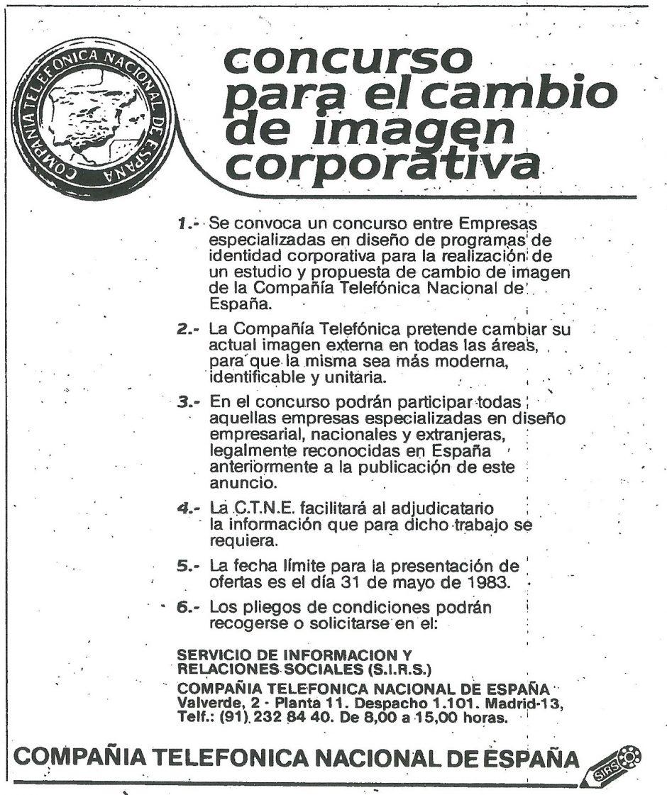 Concurso para el cambio de imagen corporativa de la Compañía Telefónica